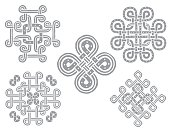 Set of Stone Celtic hand drawn ornament, white background