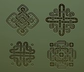 Set of Stone Celtic hand drawn ornaments