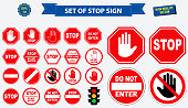 set of stop sign.