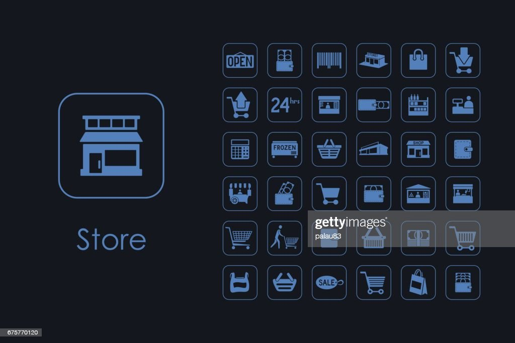 Set of store simple icons