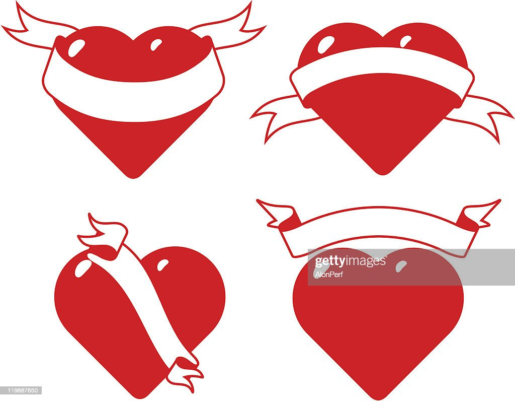 set of stylised hearts with ribbons