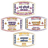 Set of stylised passport stamps for major airports of northern India in vector format.