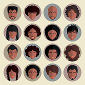 Set of stylish avatars african american people  in flat design.