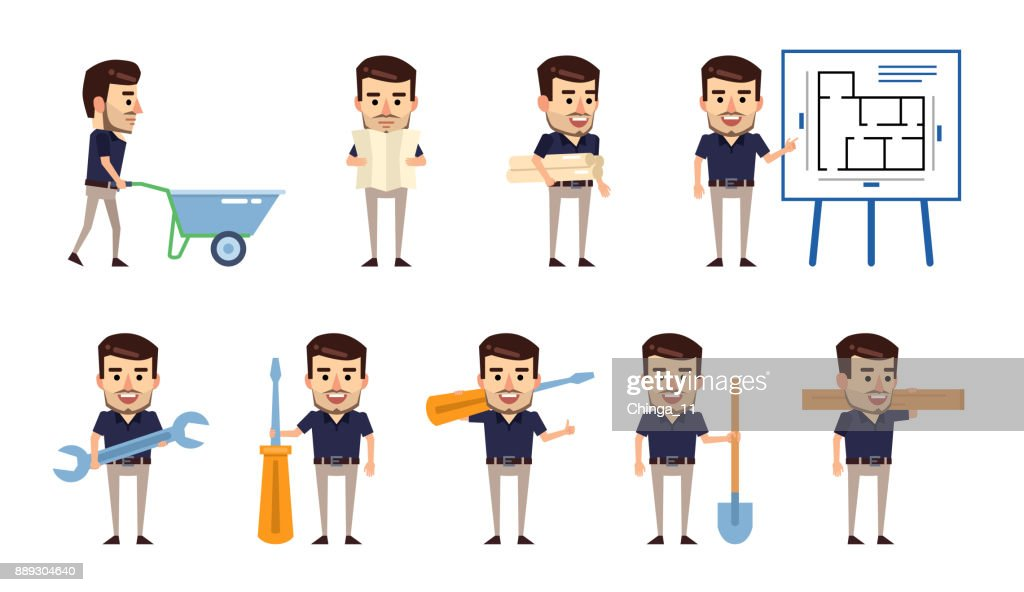 Set of stylish businessman characters posing with construction tools