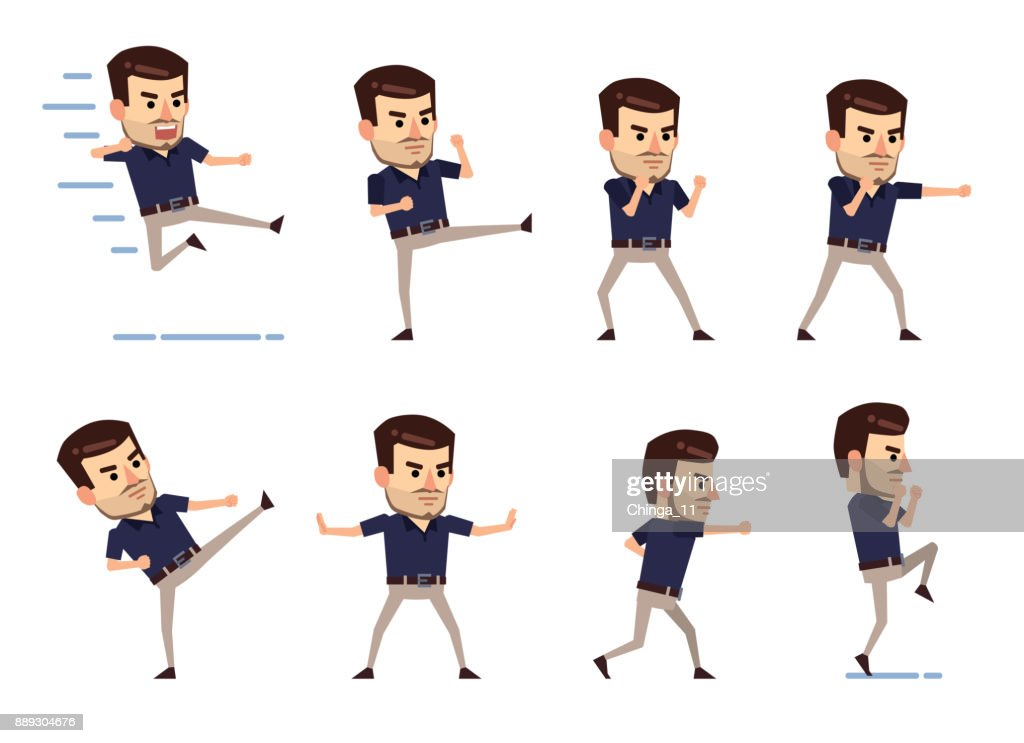 Set of stylish businessman characters showing different battle poses
