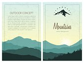 Set of stylish outdoor cards template. Vector backgrounds with green mountains.