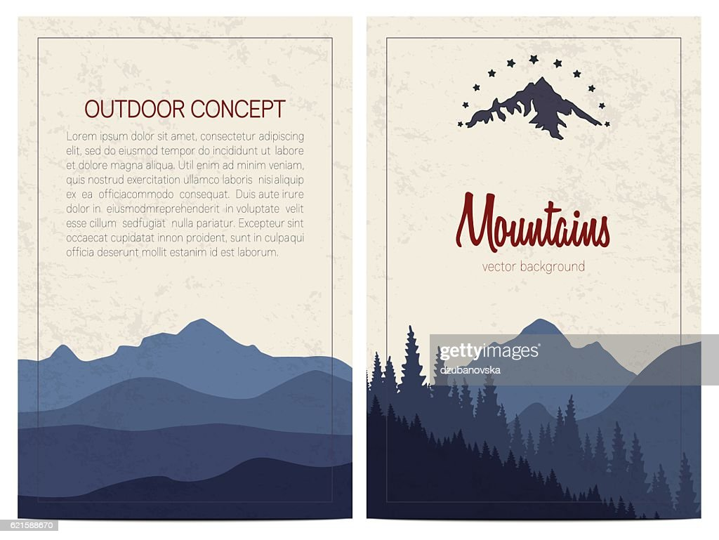 Set of stylish outdoor cards template