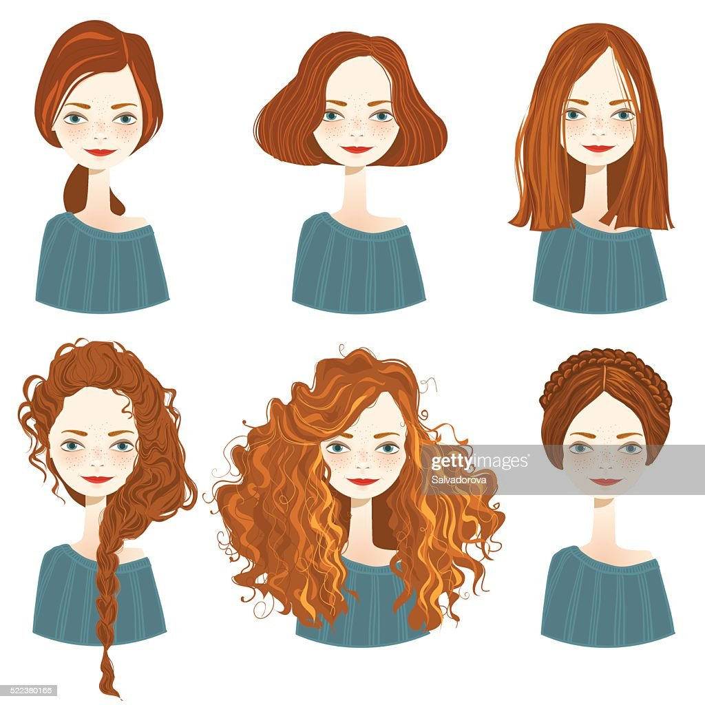 Set of stylish women's hairstyles.