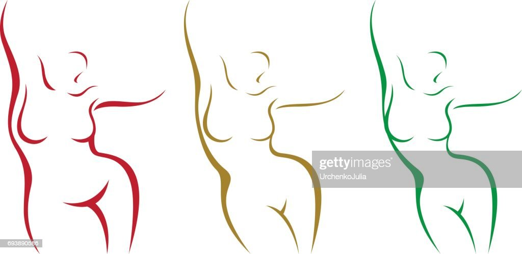 Set of stylized female body overweight and after weight loss