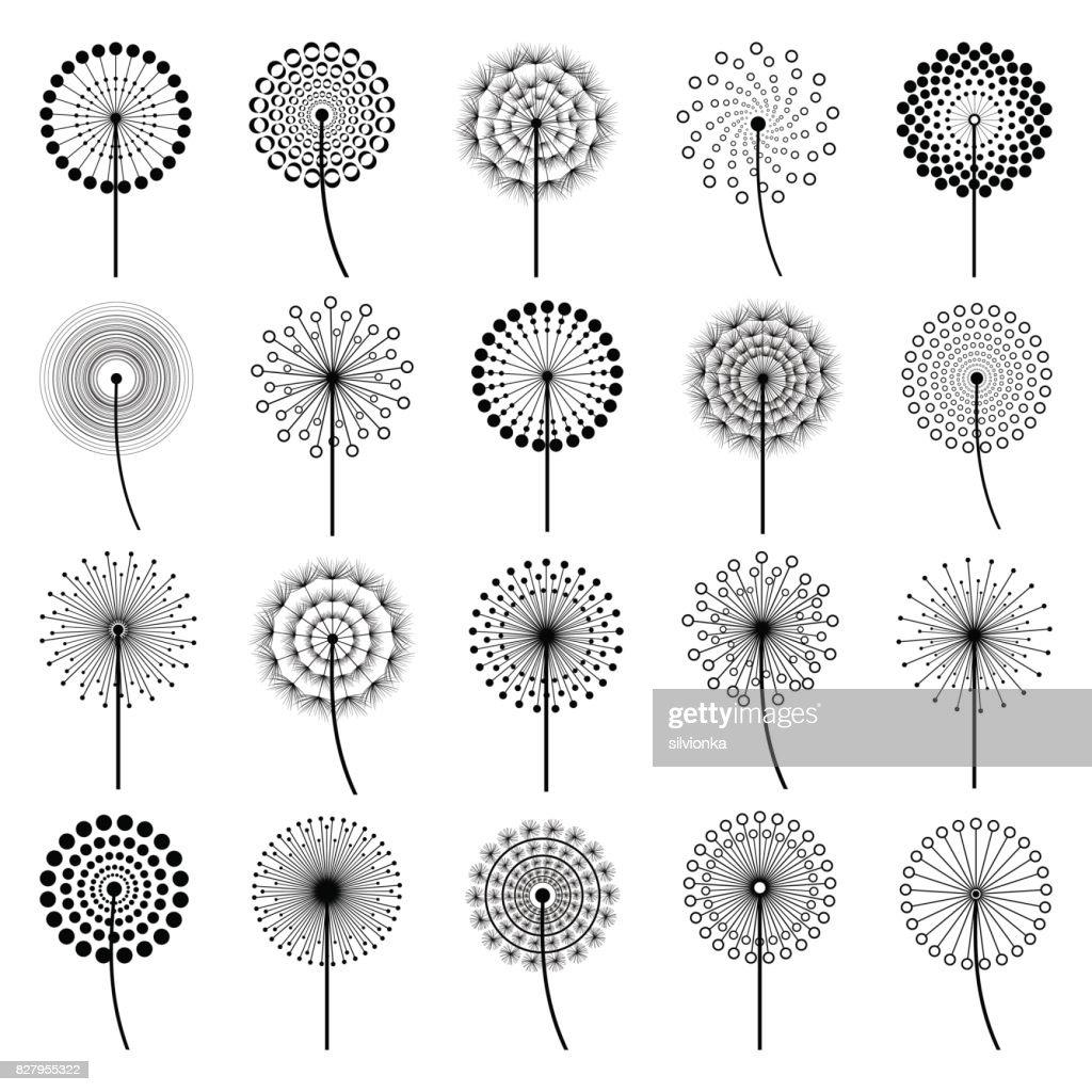Set of stylized flowers dandelions