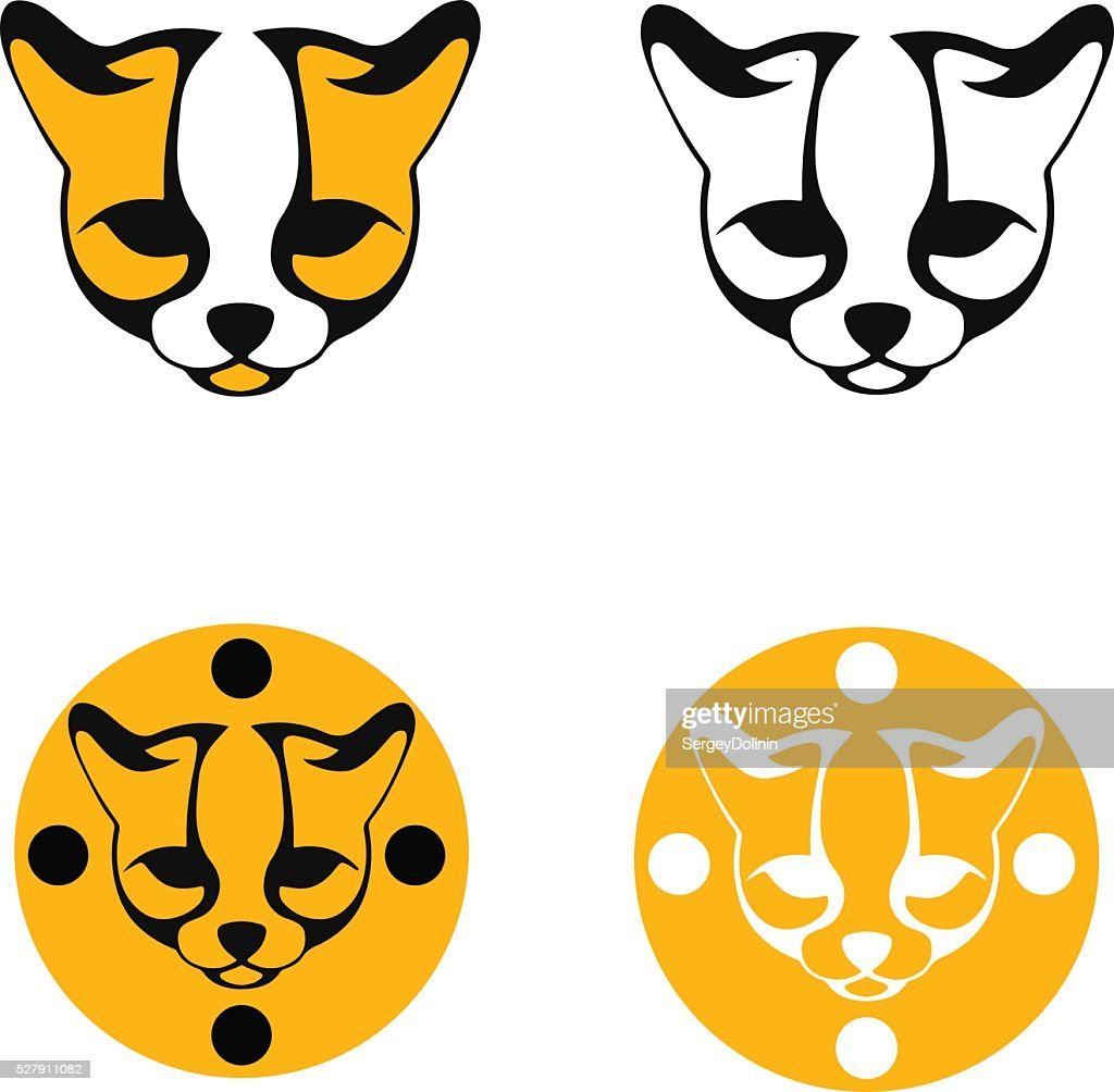 set of stylized images ocelot head