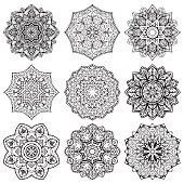 Set of stylized snowflake.