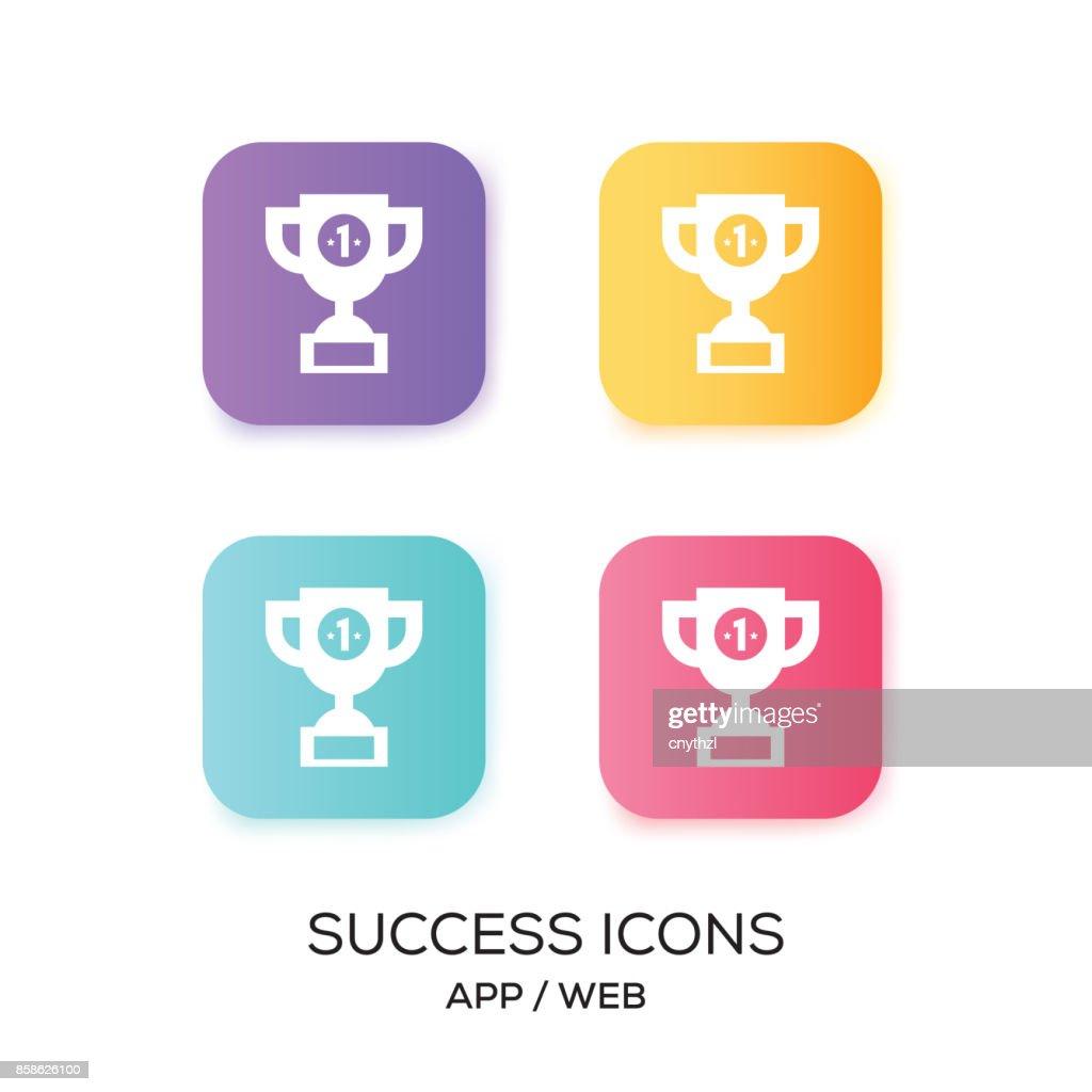 Satz von Erfolg App-Symbol : Stock-Illustration