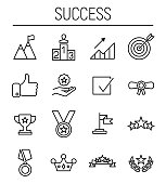 Set of success icons in modern thin line style.