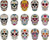 Set of sugar skulls illustrations. Dead day. Dia de los muertos.