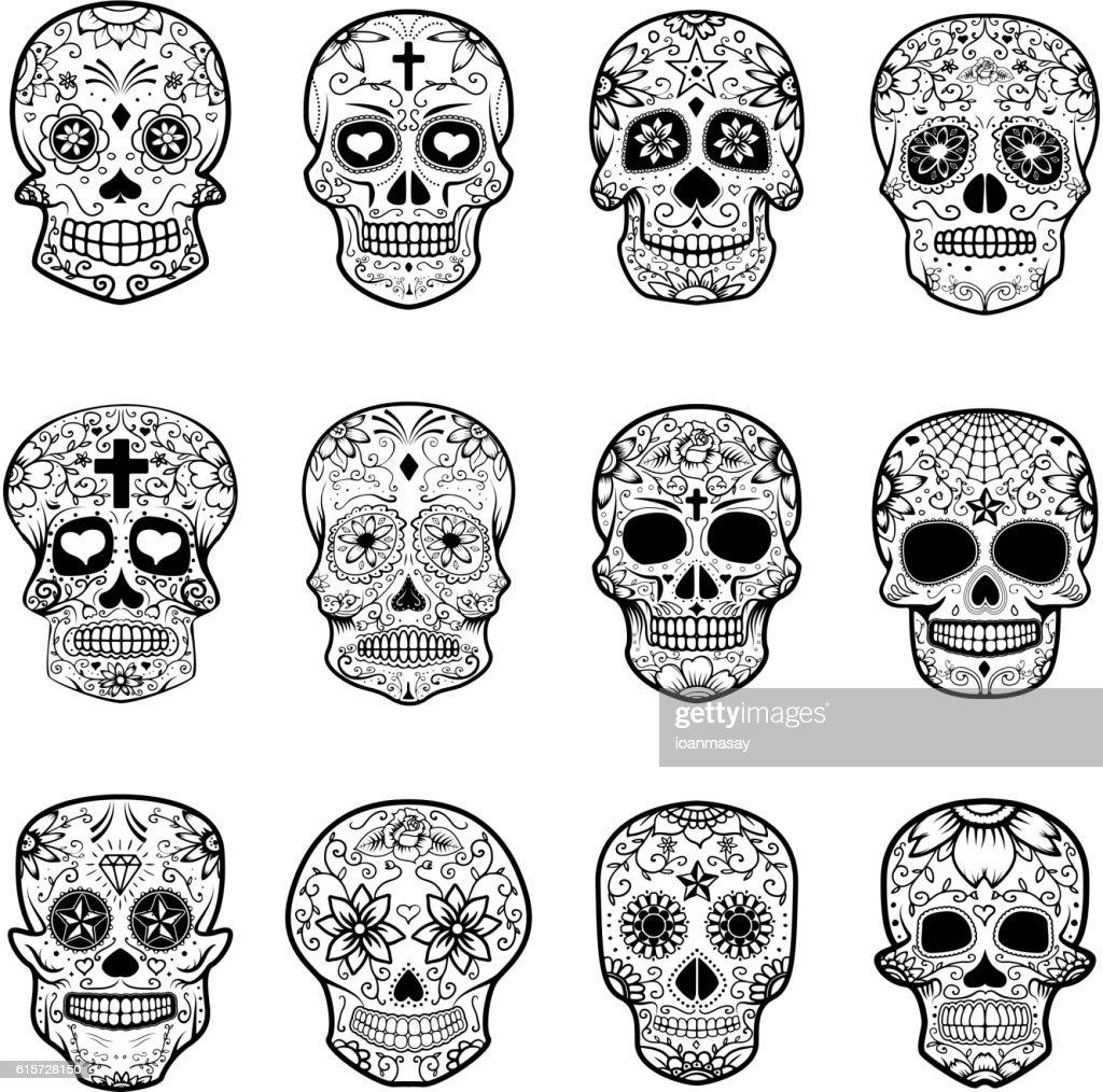 Set of Sugar skulls isolated on white background.