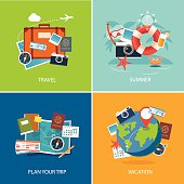 set of summer and travel flat design banner template