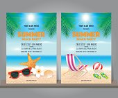 Set of summer beach party design template for poster, flyer, banner. Summer tropical background. Vector Illustration.