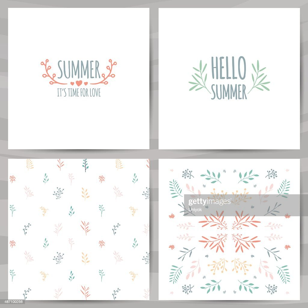 Set of summer cards, invitations design. The pattern of leaves.