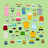 Set of summer clothes and accessories vector illustration fashion clothing fashion image design