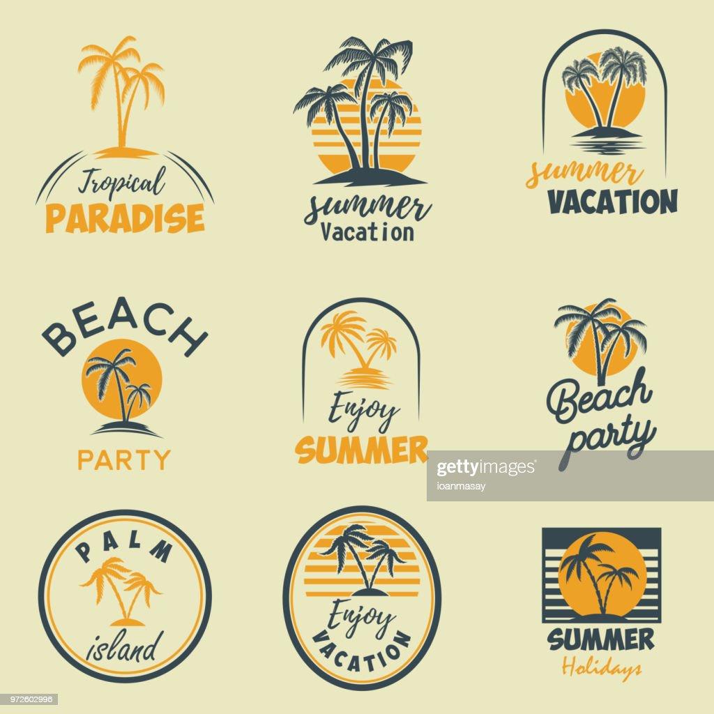 Set of summer emblems and design elements. Design element for  label, poster, print, card, banner, sign.