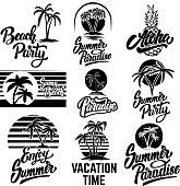 Set of summer emblems with palms. For emblem, sign,  label, badge. Vector image