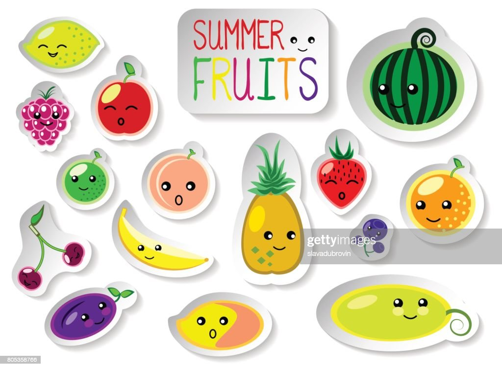 Set of summer fruits in flat style. Cute kawaii faces of fresh ripe fruits.