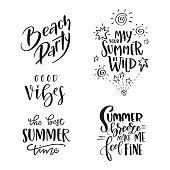Set of Summer hand drawn brush letterings