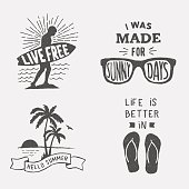 set of summer hand drawn typography posters, emblems and quotes.