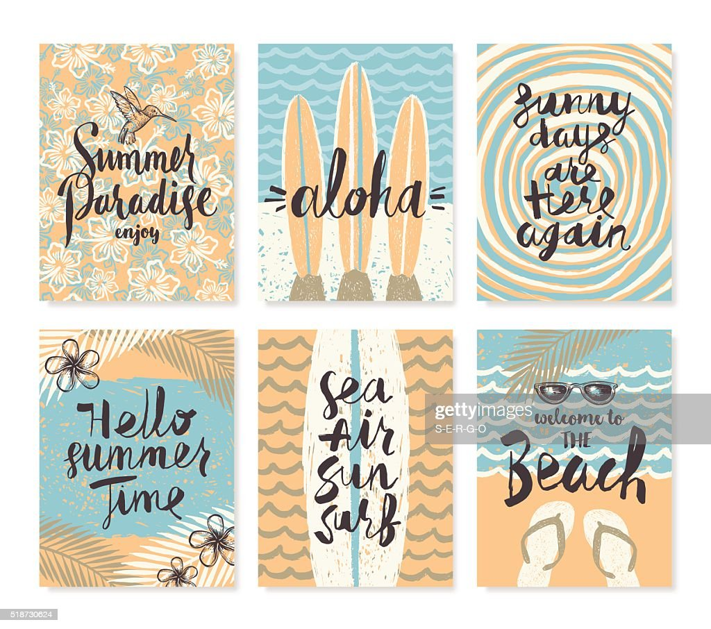 Set of summer holidays and  vacation posters or greeting card