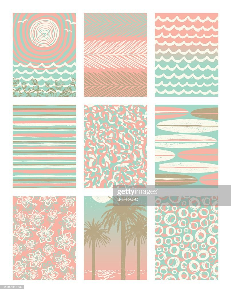 Set of summer holidays and vacation posters or greeting card.