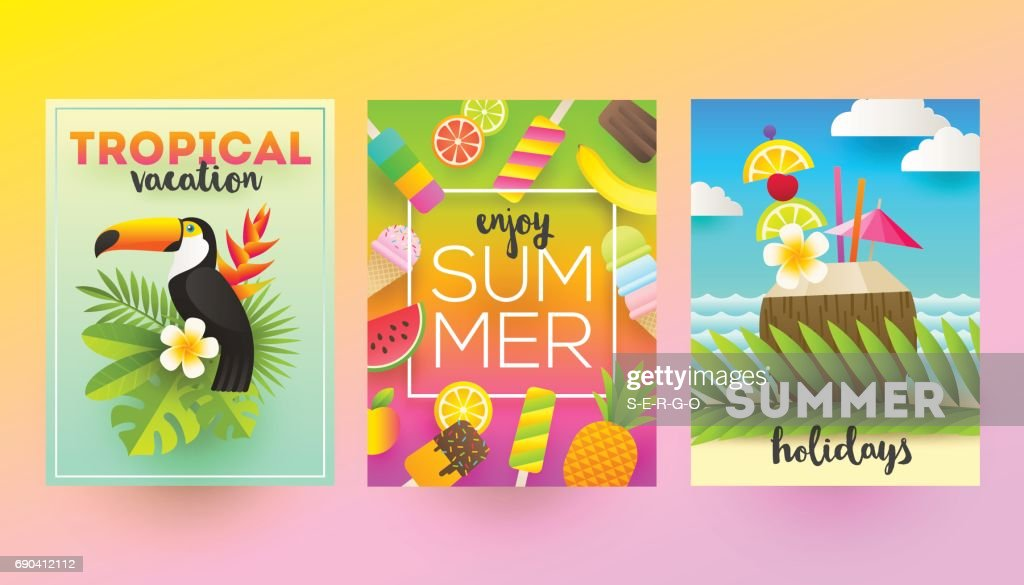 Set Of Summer Holidays And Vacation Posters Or Greeting Card High Res Vector Graphic Getty Images