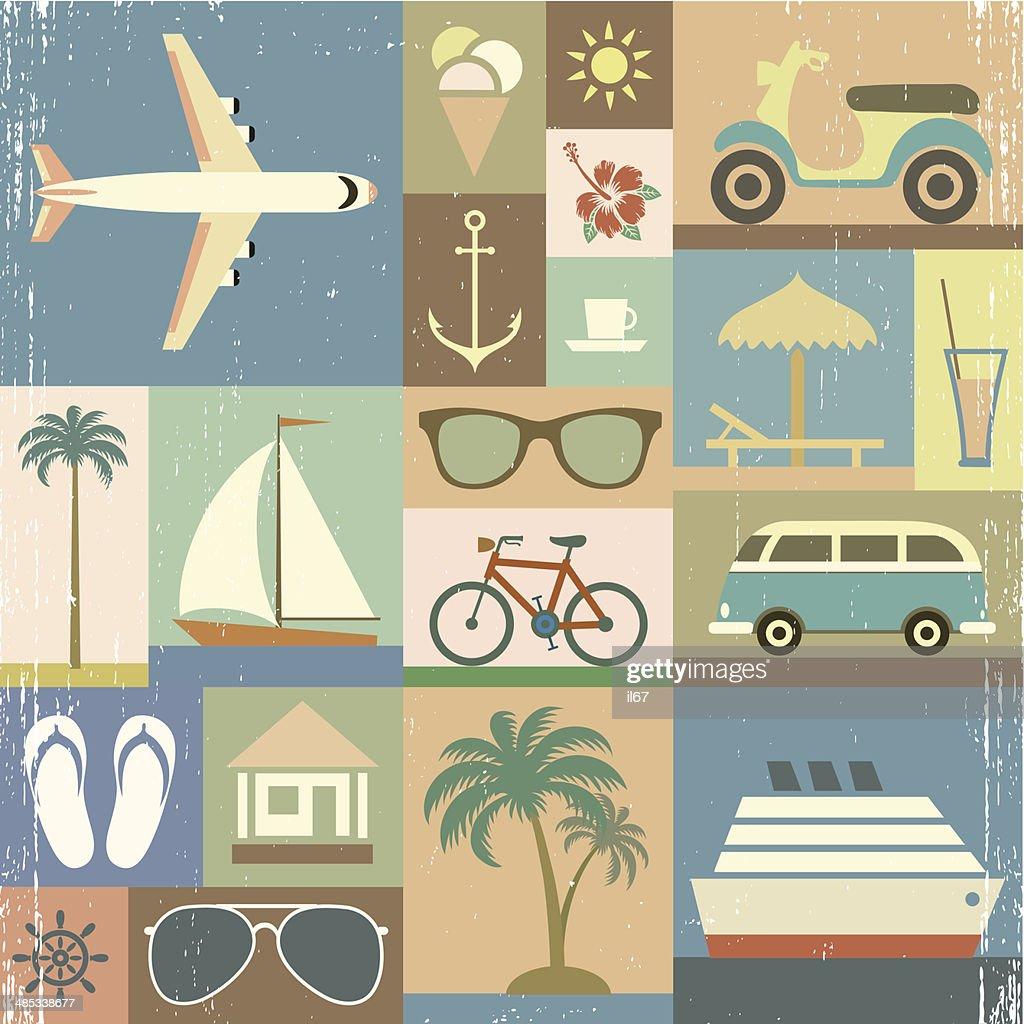 set of summer retro icons