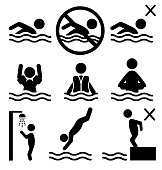 Set of summer swim water information flat people pictogram icon