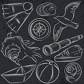 Set of  summer symbols,  boat, seashell, compass, telescope, seagull on blackboard  background, vector illustration.