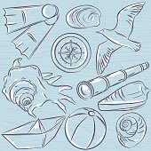 Set of  summer symbols,  boat, seashell, compass, teleskope, seagull on a blue  grunge background, vector illustration.