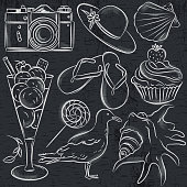 Set of  summer symbols,  seashell, seagull, camera, muffin, hat, ice cream, on blackboard  background, vector illustration.