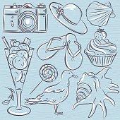Set of  summer symbols,  seashell, seagull, camera, muffin, hat, ice cream, on a blue  grunge background, vector illustration.