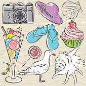 Set of  summer symbols,  seashell, seagull, camera, muffin, hat, ice cream, on a beige  grunge background, vector