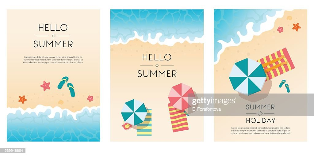 Set of summer travel flyers with beach items and wave.