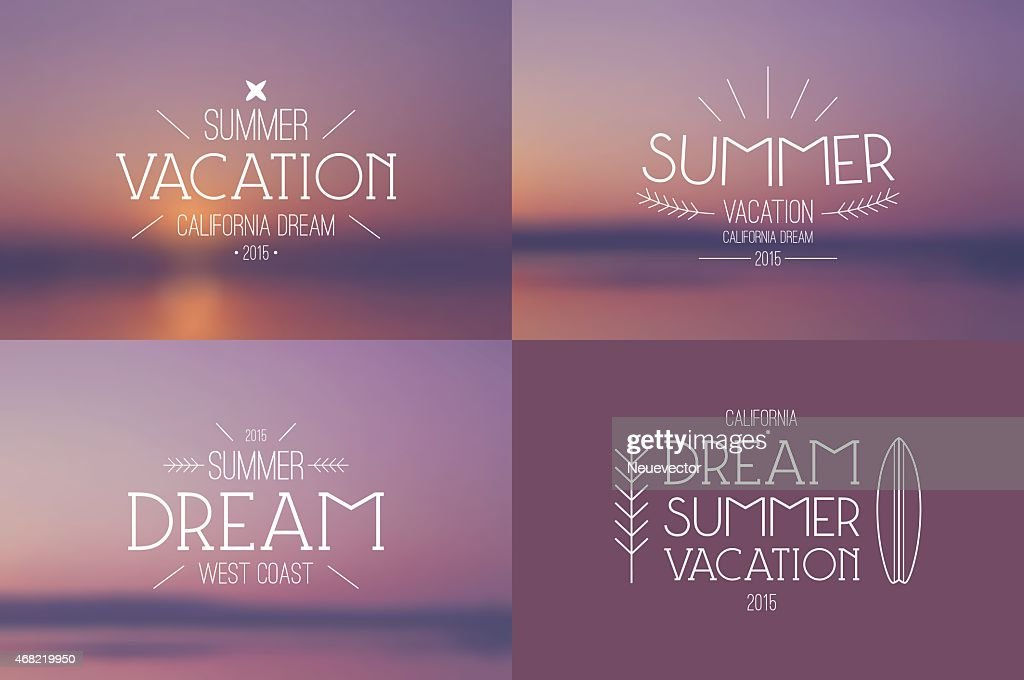 Set of summer vacation badges and blurred backgrounds