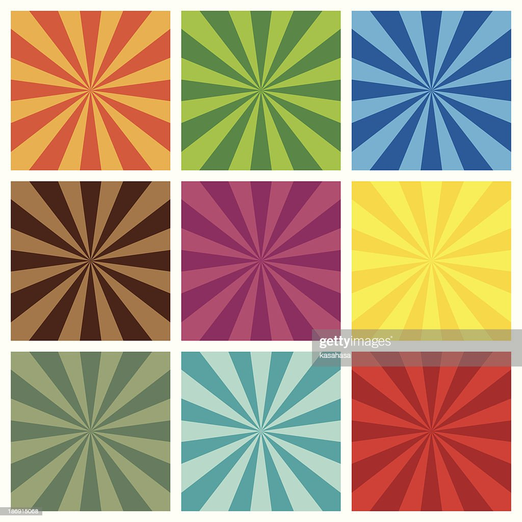 set of Sun Sunburst retro Pattern background.