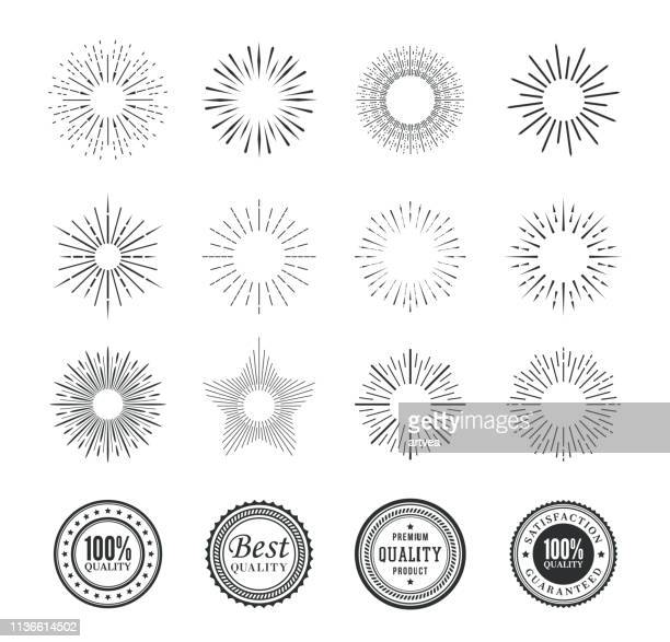 set of sunburst design elements and badges. - butterflyfish stock illustrations, clip art, cartoons, & icons