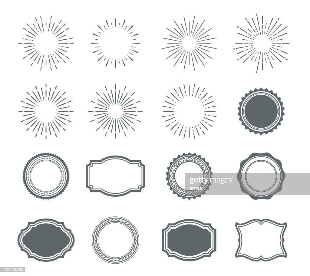 Conjunto de elementos de design do sunburst e emblemas : Ilustração