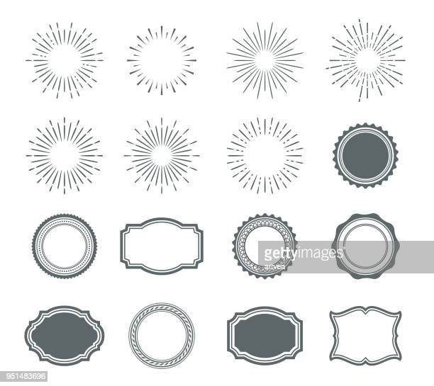 illustrazioni stock, clip art, cartoni animati e icone di tendenza di set of sunburst design elements and badges - stile retrò