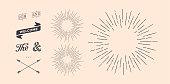 Set of sunburst, vintage graphic elements