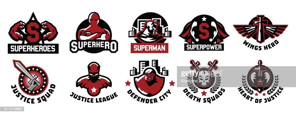 Set of superhero icons. A collection of images of superman. The suit, raincoat, silhouette, image, face, muscles, city, wings, sword, skull, monster, heart. Vector illustration. Flat style