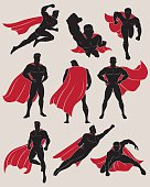 Set of Superhero in 9 Different Poses