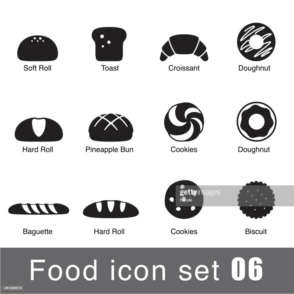 A set of supermarket icons depicting breaded goods : stock illustration