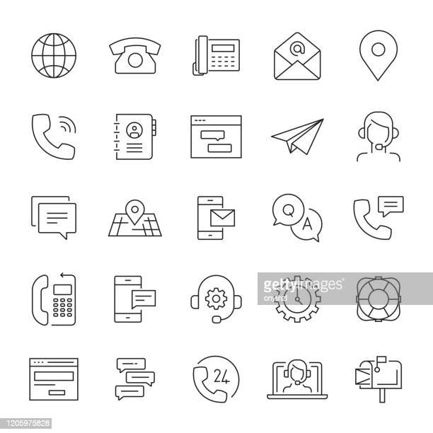 illustrazioni stock, clip art, cartoni animati e icone di tendenza di set of support and contact related line icons. editable stroke. simple outline icons. - domanda e risposta
